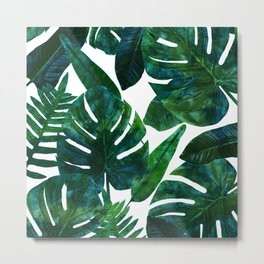 Tropical Nature Monstera Watercolor Painting, Botanical Jungle Dark Palm Illustration Metal Print