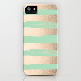 Painted Stripes Gold Tropical Ocean Green iPhone Case