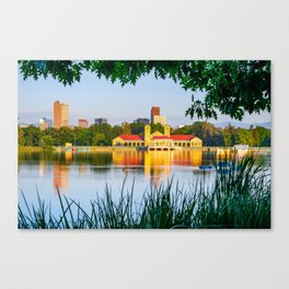 Denver Morning Skyline City Reflections - City Park View Canvas Print