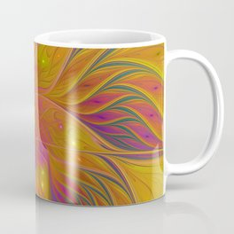 Colorful and Luminous Flower, Abstract Fractal Art Coffee Mug