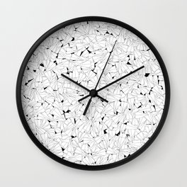 Paper planes B&W / Lineart texture of paper planes Wall Clock
