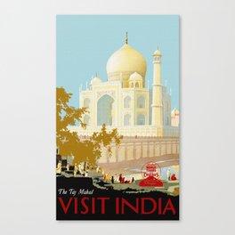 Visit India - Taj Mahal - Vintage Travel Poster Canvas Print