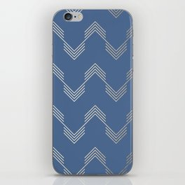 Simply Deconstructed Chevron White Gold Sands  on Aegean Blue iPhone Skin