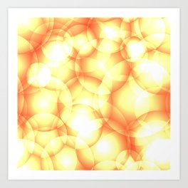 Gentle intersecting golden translucent circles in pastel colors with glow. Art Print