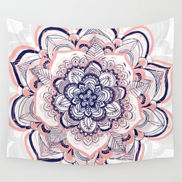 Woven Dream - Mandala in Pink, White and deep Purple Wall Tapestry