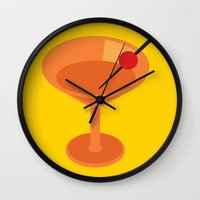 cocktail Wall Clocks featuring Cocktail by Superlust
