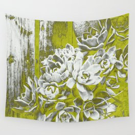 Chartreuse Green Hen and Chicks Wall Tapestry
