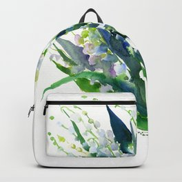 Lilies of the Valley, spring floral design flowers sring design wood flowers Backpack