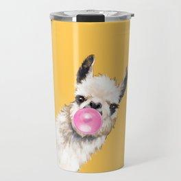 Bubble Gum Sneaky Llama in Yellow Travel Mug