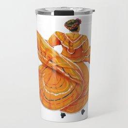 Orange Dress Dancer Baile Folklorico Travel Mug