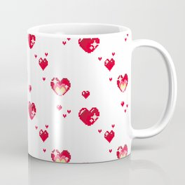 Pixel Heart Pattern Coffee Mug