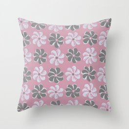 Floral design pink, Black & blue Gray  Flowers Allover Print Throw Pillow
