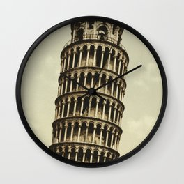 Vintage Leaning Tower of Pisa Photograph (1900) Wall Clock