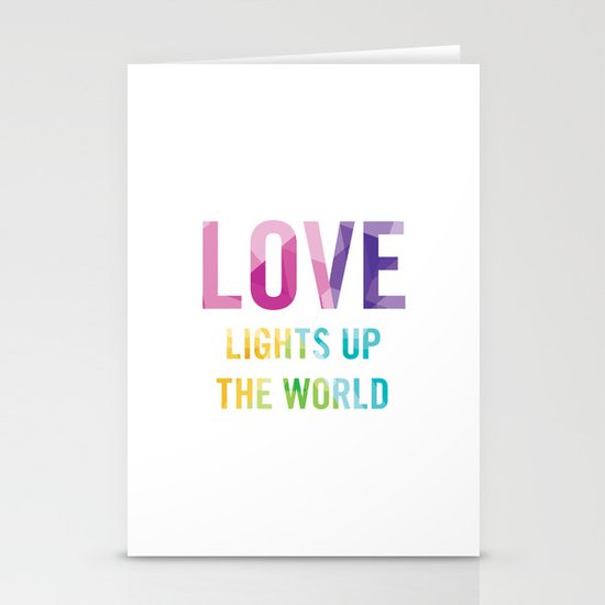 Love Lights Up The World Quote Stationery Cards