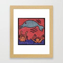Keith Haring Dolphin Framed Art Print