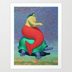 Mermaid on turtle Art Print