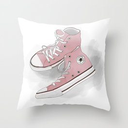 pink all-star converse sneakers Throw Pillow