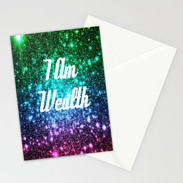 Wealth Affirmation Galaxy Sparkle Stars Stationery Cards