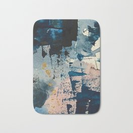 Pleiades: a minimal, abstract mixed media piece by Alyssa Hamilton Art in Pink, Gold, and Blue Bath Mat
