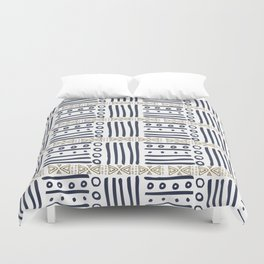 Modern hand painted navy blue gold aztec geometrical Duvet Cover