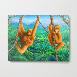 Orangutan and Baby Metal Print