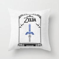 the legend of zelda Throw Pillows featuring Zelda legend - Sword by Art & Be