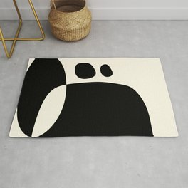 shapes black white minimal abstract art Rug