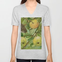 Bird in Apple Tree with Apples - Watercolor on Panel - Laurie Rohner Unisex V-Neck