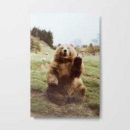 Hi Bear Metal Print