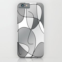 ABSTRACT CURVES #1 (Grays & White) iPhone Case
