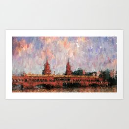 Oberbaumbrücke Berlin City Painting / impressionism style Illustration  / abstract landmarks drawing Art Print