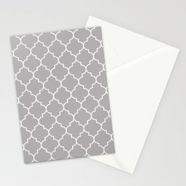 Moroccan Trellis, Latticework - Gray White Stationery Cards