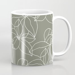 Leafy Leaves, Stacked, White on Earth Green Coffee Mug