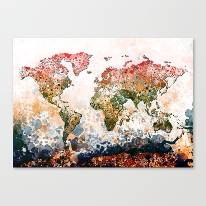 World map colors splats canvas print by bekimart society6 world map colors splats canvas print gumiabroncs Gallery