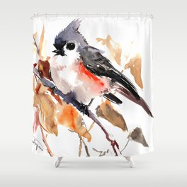 titmouse in the fall, Fall colors, birds and flowers bird art Shower Curtain