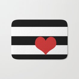 Black and White Stripes w/Red Heart Bath Mat