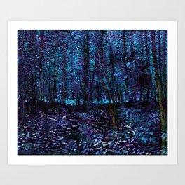 Van Gogh Trees & Underwood Indigo Turquoise Kunstdrucke