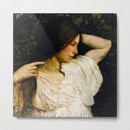 Girl Arranging Her Hair - Abbott Handerson Thayer Metal Print