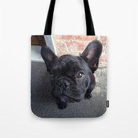 frenchie Tote Bags featuring Frenchie by Gabrielle Burns