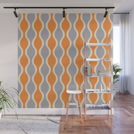 Classic Retro Ogee Pattern 852 Orange and Gray Wall Mural