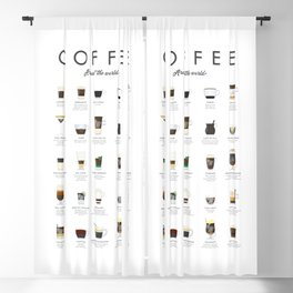 Coffee Chart - Around The World Blackout Curtain