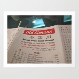 Chinese Menu - ( Lunar New Year in New York City: 2010 ) Art Print