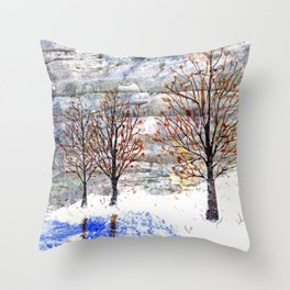 Snow Grey Skies over Moon Lake in Dewdrop Holler Throw Pillow