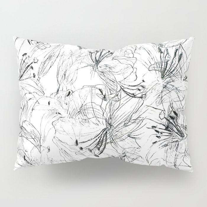 lily sketch black and white pattern Pillow Sham