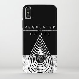 Caffeine on the Brain // B&W Regulated by Coffee Espresso Drip Distressed Living Graphic Design iPhone Case
