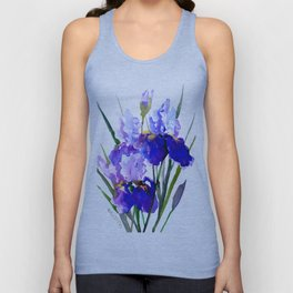 Garden Irises, Blue Purple Floral Design Unisex Tank Top