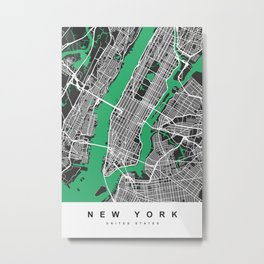 New York Map |Black&Green| More Colors, Review My Collections Metal Print