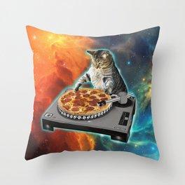Cat dj with disc jockey's sound table Throw Pillow