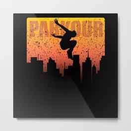 Urban sports Parkour Street Jumper Skyline Flyer Metal Print