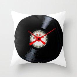 Rock Record Clock Face Throw Pillow